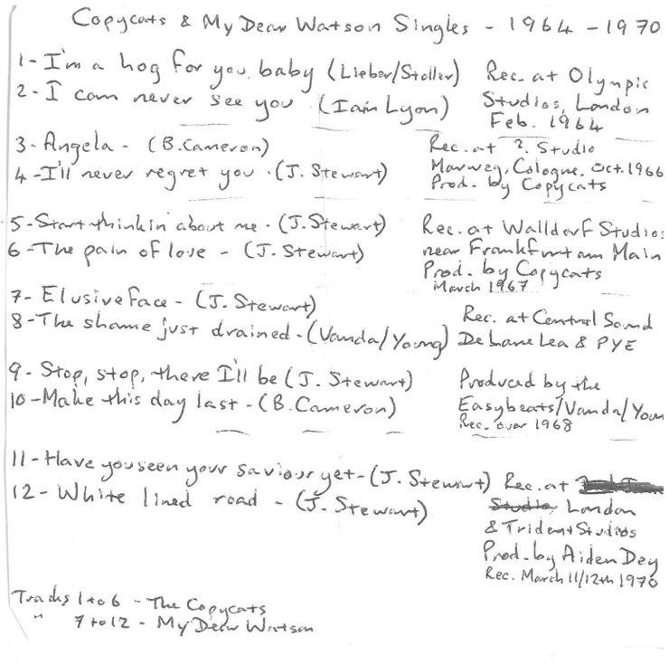 """7 inch """"45s"""" of Copycats/My Dear Watson tunes"""