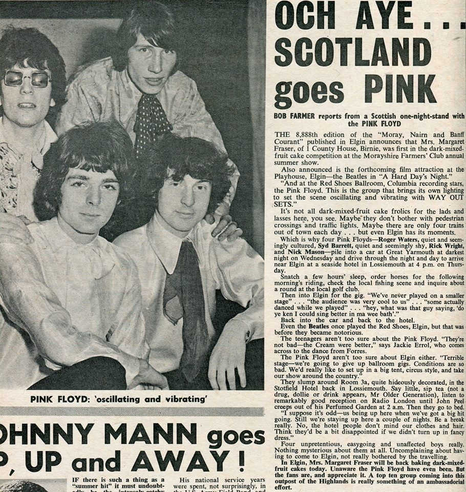 """Today in 1967, Pink Floyd performed at the Two Red Shoes Ballroom in Elgin, Scotland. As this newspaper report shows, the band weren't terribly impressed with the stage, but potentially some of the audience weren't overly enamoured by the band's music either..."" https://www.facebook.com/pinkfloyd/"