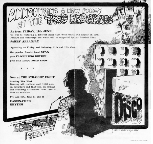 Two Red Shoes disco flyer [circa early '70s]