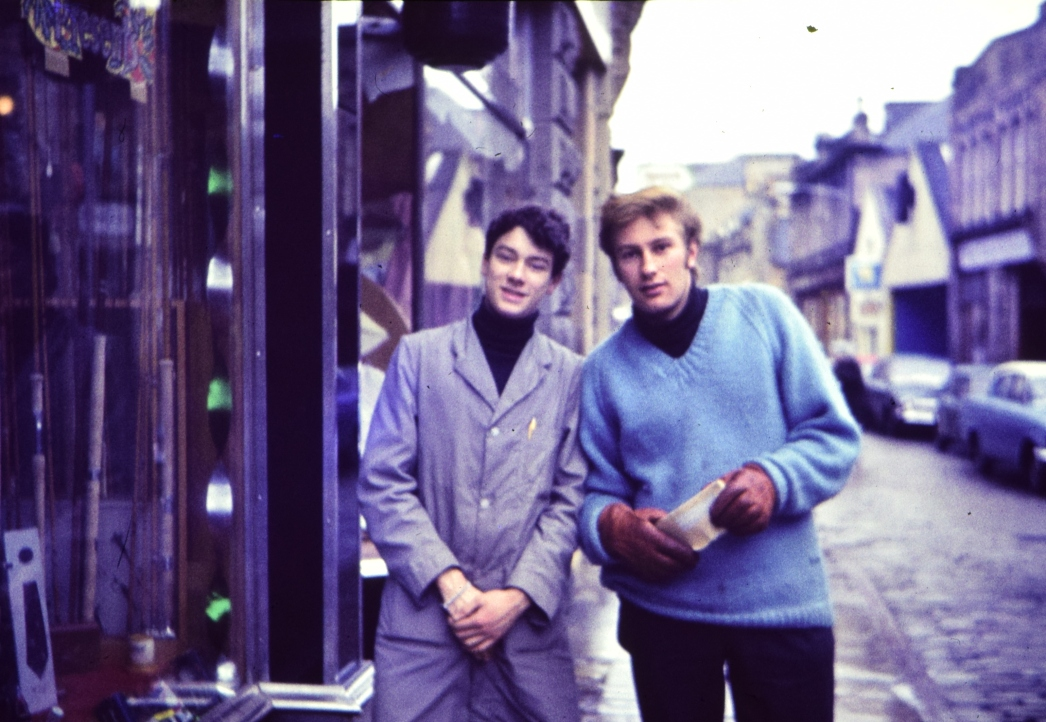 Eddie LePard with friend on the Elgin High Street