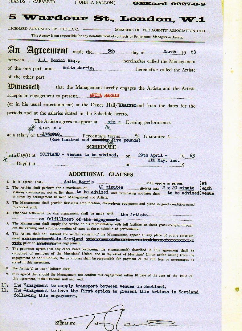 Contract between Albert Bonici and Anita Harris March 1963