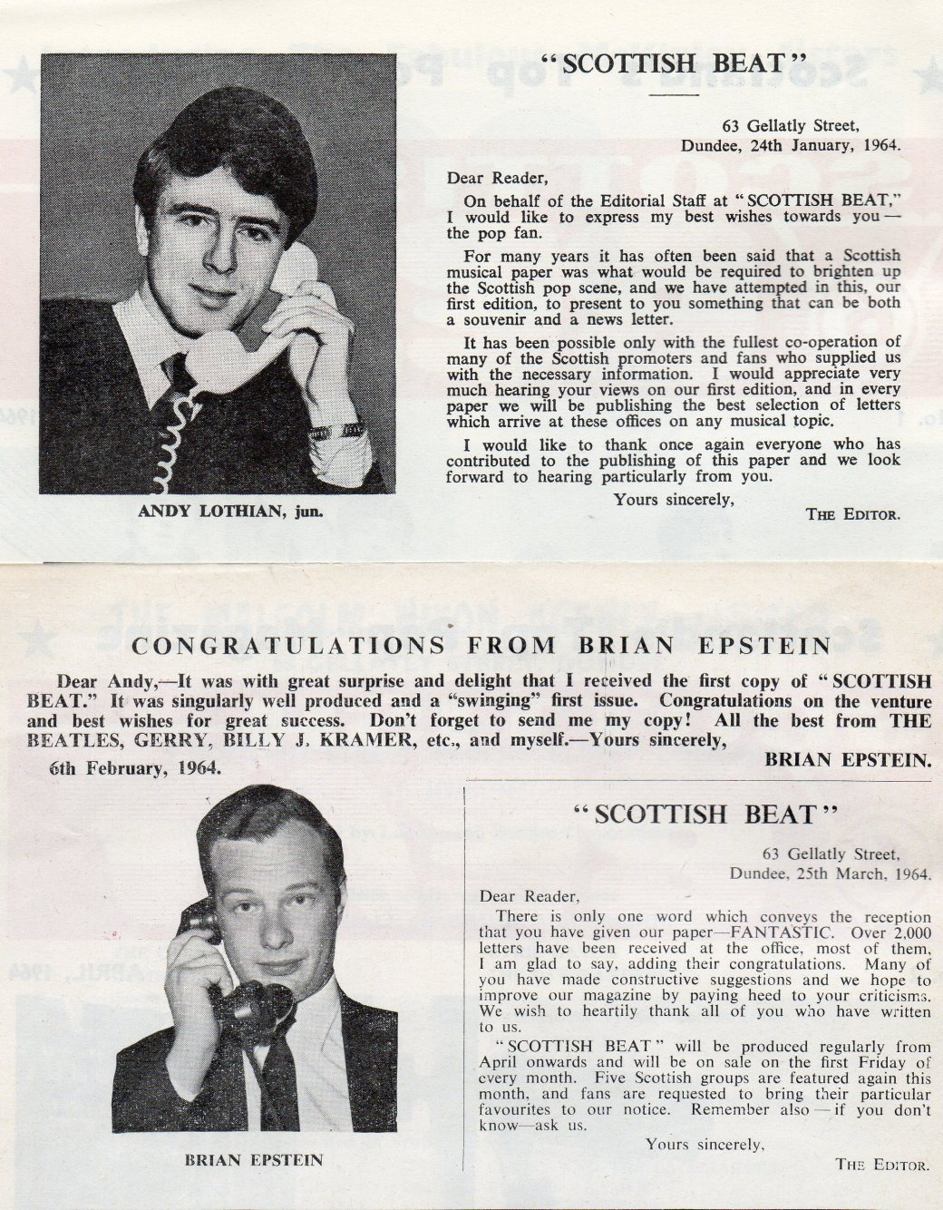 As was Albert Bonici, Andy Lothian jr was on friendly terms with Brian Epstein by 1964.