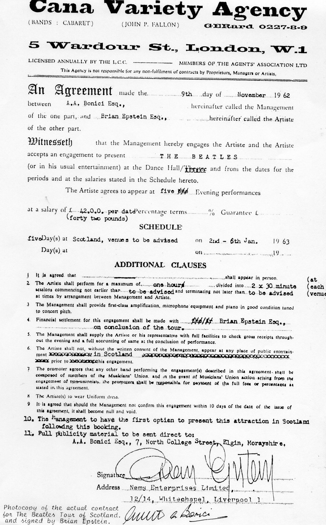 beatles signed contract