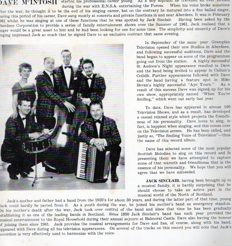 The Smiling Voice album featuring Dave McIntosh with The Jack Sinclair Scottish Dance Band [Norco]