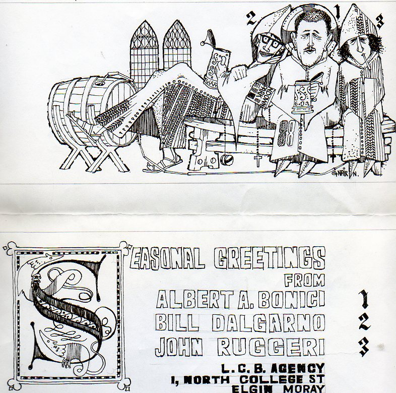 Holiday card created by Graeme Nairn and featuring Albert with Bill Dalgarno and nephew John Ruggeri when they were part of LCB [Little Cross Buildings] Agency circa 1970