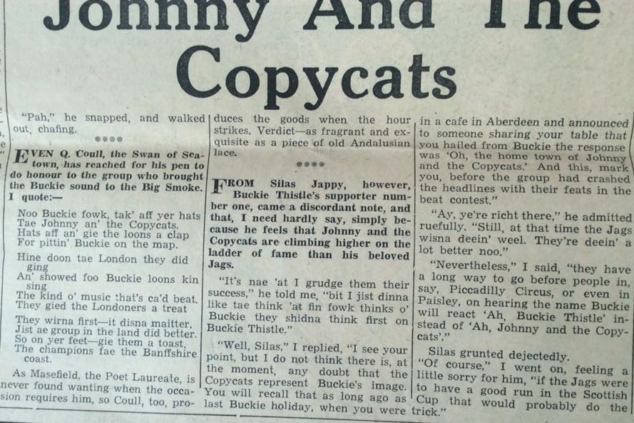 Johnny and The Copcats were getting more attention than Buckie's local football team and besides coming in second in a new music competition.