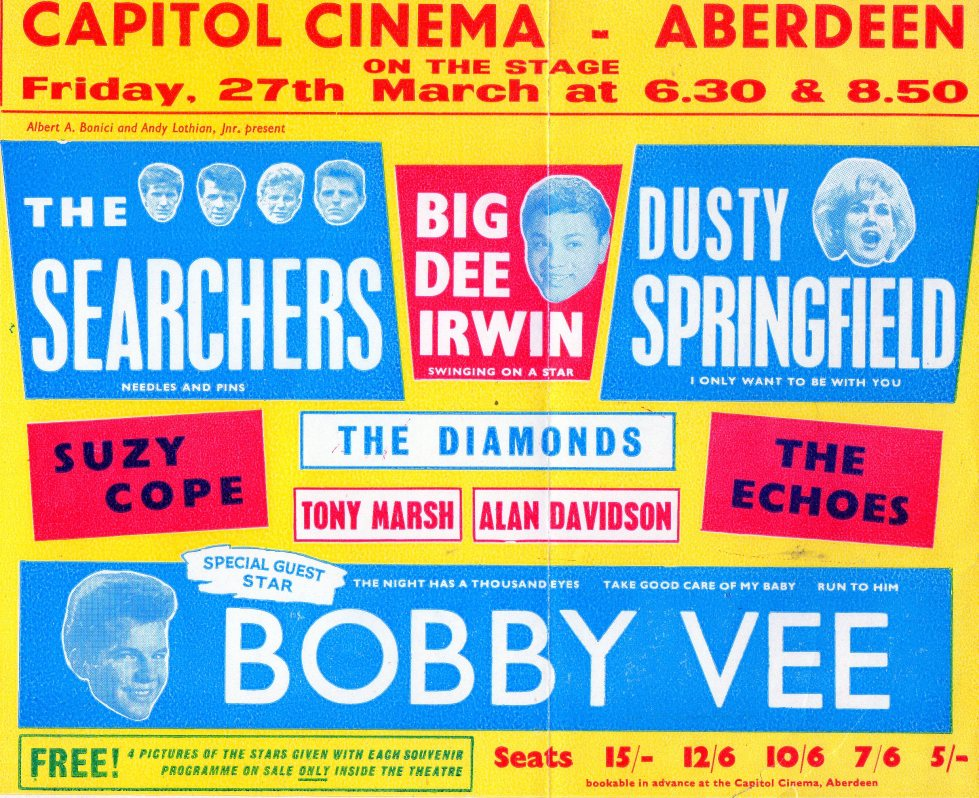 The line up in Aberdeen's Capitol Cinema was set by Kennedy agency and booked for one event by AA Bonici and A Lothian. https://www.flickr.com/photos/bradford_timeline/sets/72157626215933908/