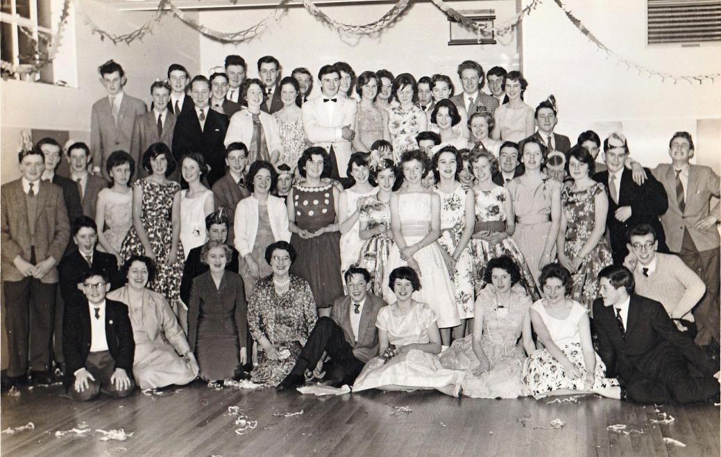 1960 photo of a celebration at the Two Red Shoes Ballroom, Elgin, Scotland