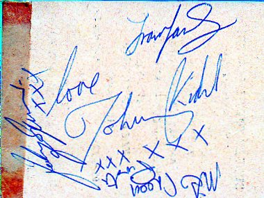 autograph when the band played in Elgin Scotland