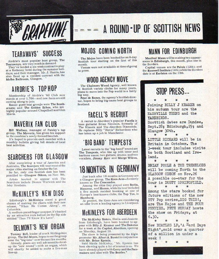Scottish music news.... McKinley sisters being promoted by Brian Epstein and Albert Bonici