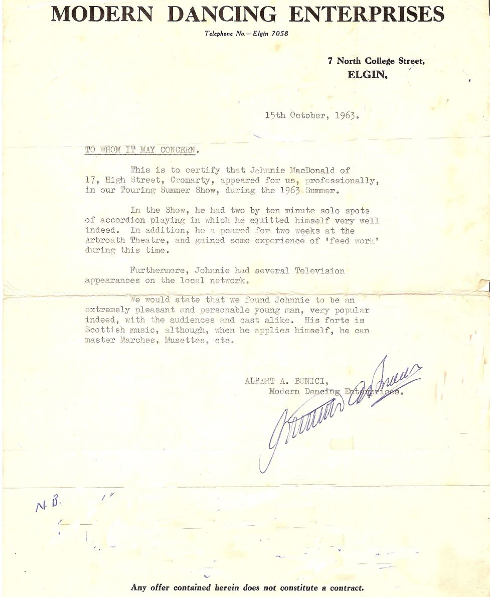 John MacDonald - letter of recommendation