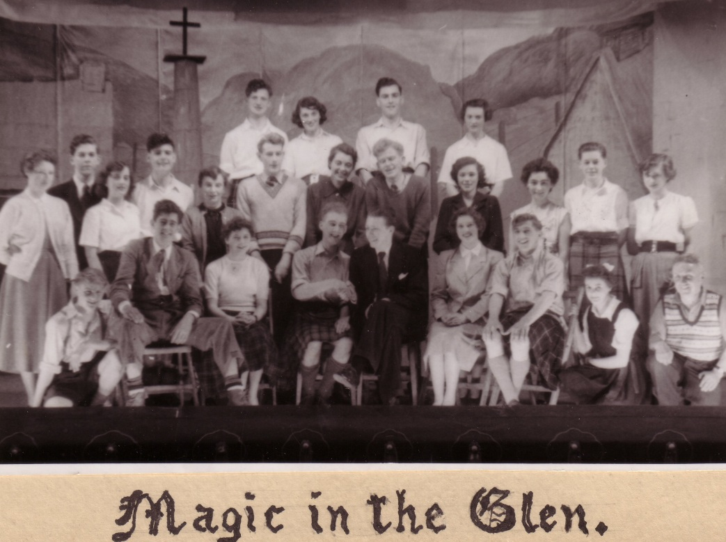 cast of Magic in the Glen. Henry Robertson is wearing a dark suit [front row]