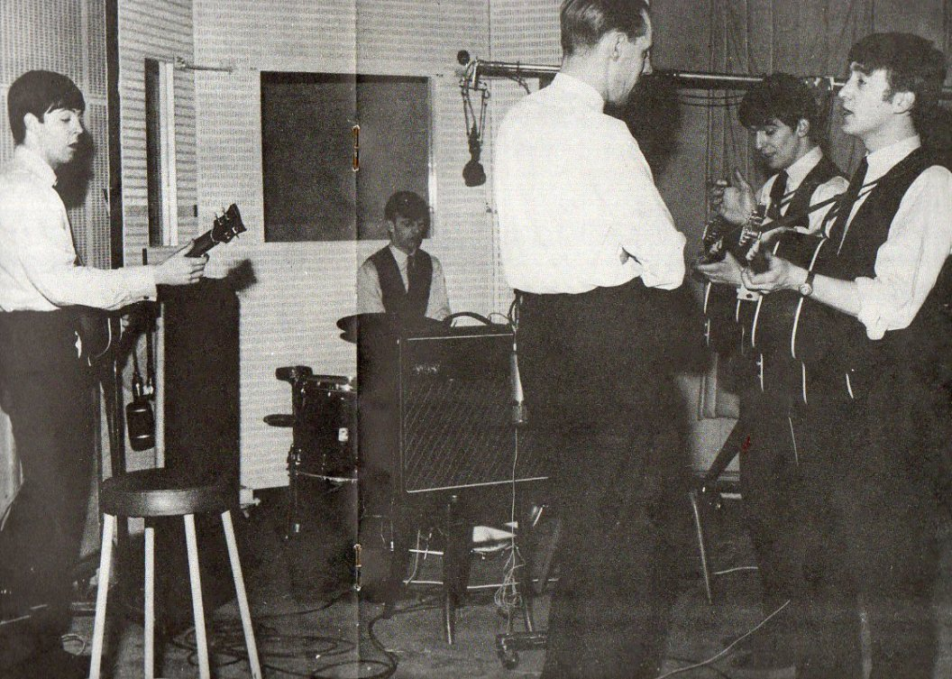 George Martin with The Beatles [circa Summer/1963] copyright Northern Songs Ltd 1963