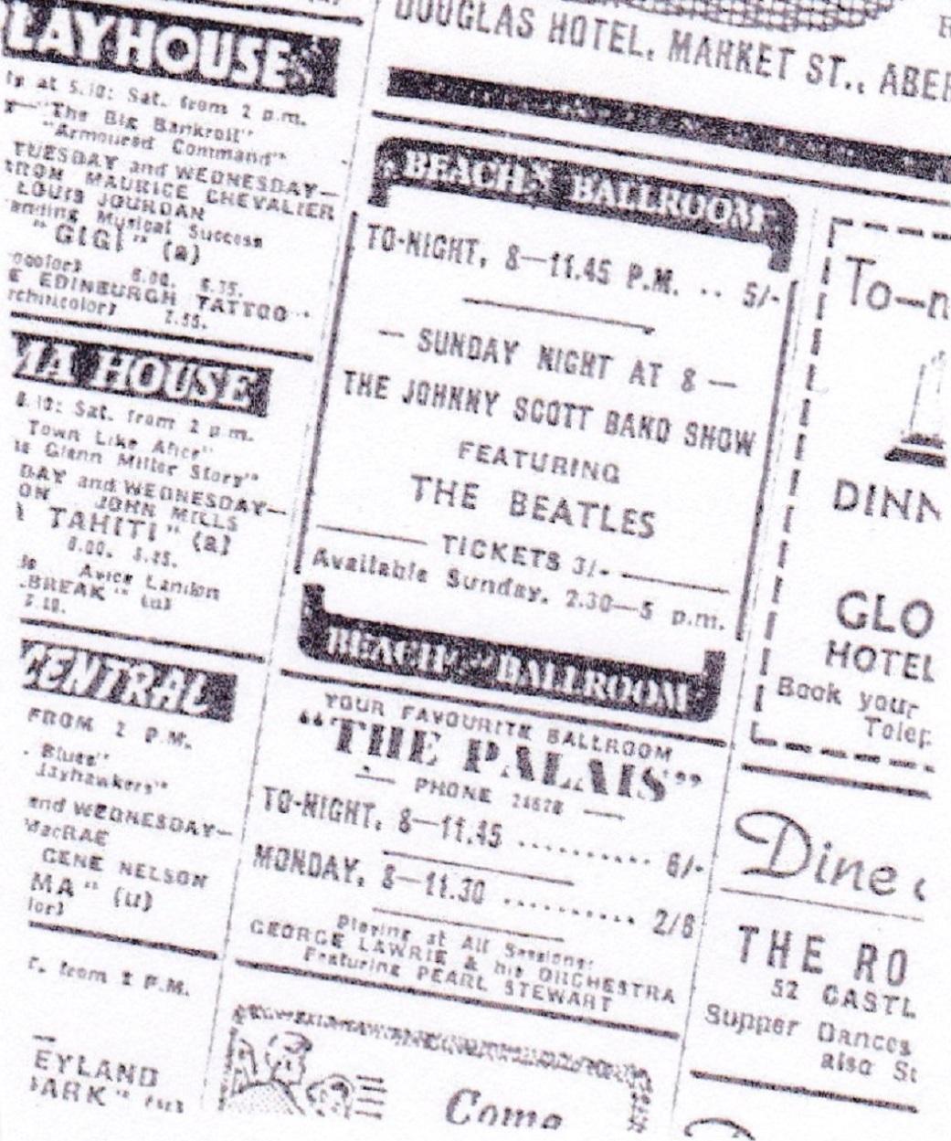 Advert for The Beatles Beach Ballroom Show
