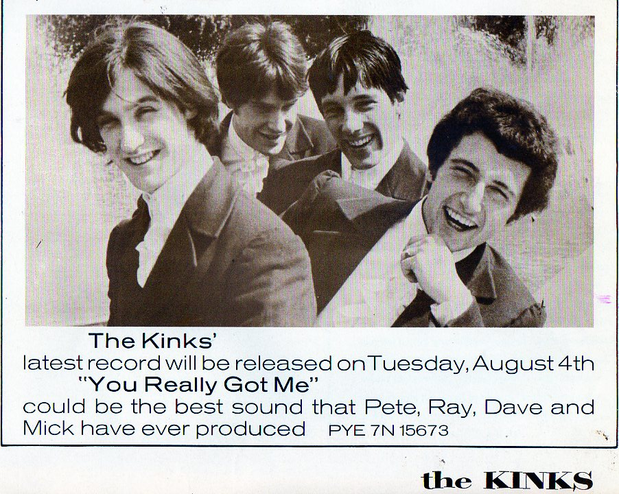 "Kinks promotion materials helped get them gigs in the UK before traveling abroad. They had just released their first original composition ""You Really Got Me"" when the teenaged Davis brothers began touring."