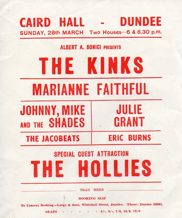 Albert Bonici hosted a tour with The Kinks, The Hollies, Marianne Fathful, and a Scottish favorite The Jacobeats who wore kilts and tartan designs.