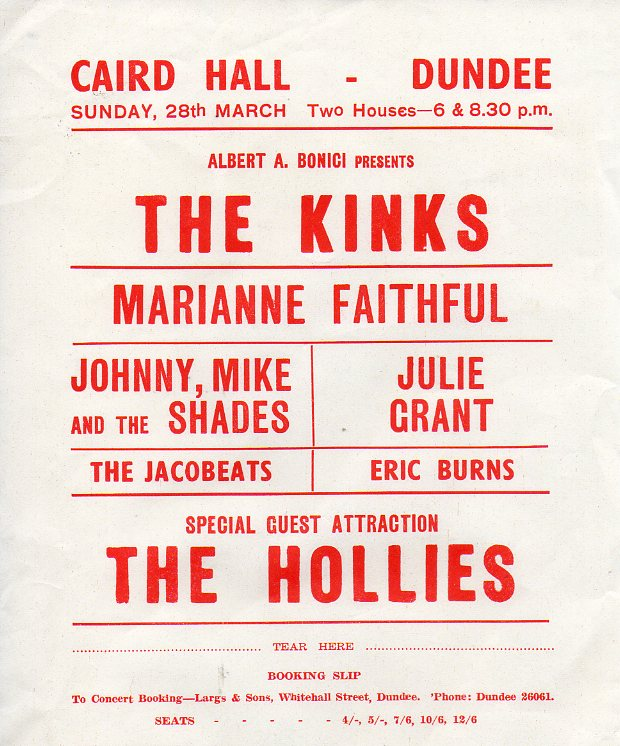 The Jacobeats shared the bill with popular beat bands who toured Scotland